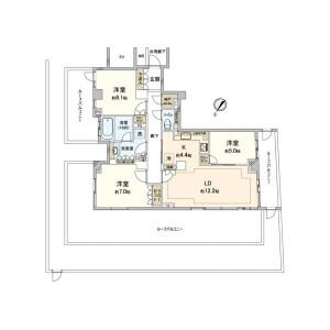 3LDK Mansion in Nakameguro - Meguro-ku Floorplan