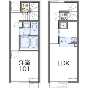 1LDK Apartment in Iwakura minamiikedacho - Kyoto-shi Sakyo-ku Floorplan