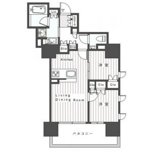 2LDK Mansion in Roppongi - Minato-ku Floorplan