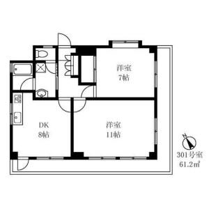 2DK Mansion in Fukasawa - Setagaya-ku Floorplan