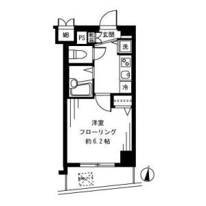 港區南麻布-1K公寓大廈 房間格局