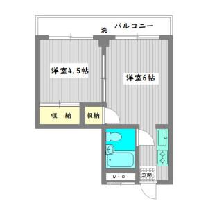 2K 맨션 in Nakacho - Meguro-ku Floorplan