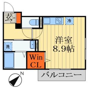 1R Apartment in Inohana - Chiba-shi Chuo-ku Floorplan