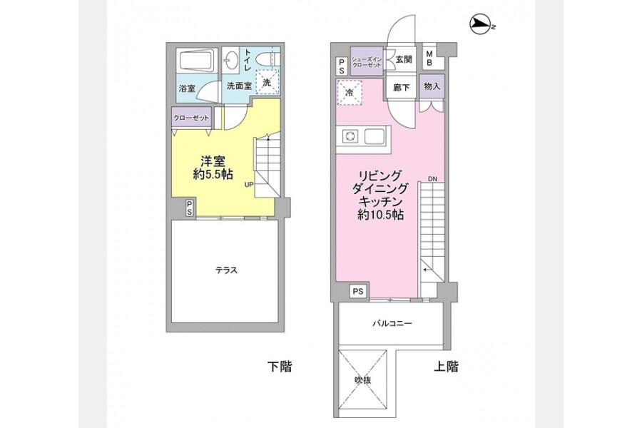 1LDK Apartment to Rent in Setagaya-ku Floorplan