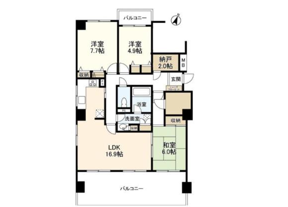 3SLDK Apartment to Rent in Shibuya-ku Floorplan