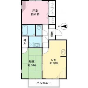 2DK Apartment in Noguchicho - Higashimurayama-shi Floorplan