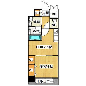 1LDK Mansion in Minamisemba - Osaka-shi Chuo-ku Floorplan