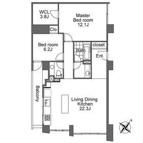港区赤坂-2LDK公寓大厦 楼层布局