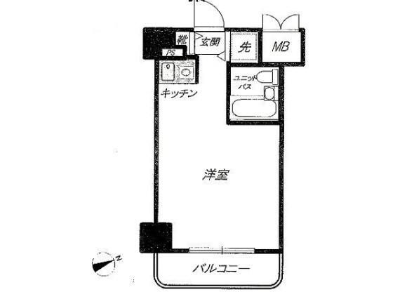在丰岛区内租赁1R 公寓大厦 的 楼层布局