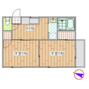 2DK Apartment in Denenchofu - Ota-ku Floorplan