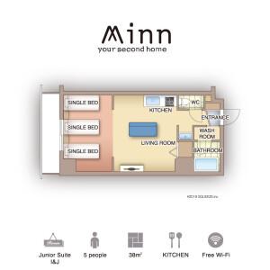 Minn Juso  - Serviced Apartment, Osaka-shi Yodogawa-ku Floorplan