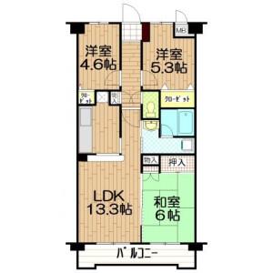 3LDK Mansion in Niizo - Toda-shi Floorplan
