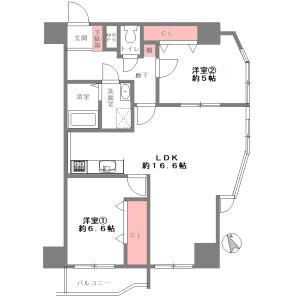 2LDK {building type} in Horikoshicho - Osaka-shi Tennoji-ku Floorplan