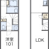 1LDK Apartment to Rent in Ishioka-shi Floorplan