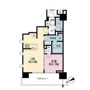 1LDK Mansion in Roppongi - Minato-ku Floorplan