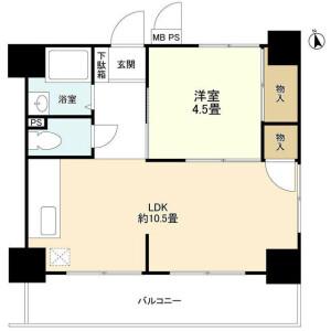 大田區羽田旭町-1LDK公寓大廈 房間格局