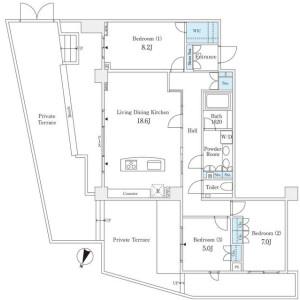 3LDK Mansion in Takanawa - Minato-ku Floorplan