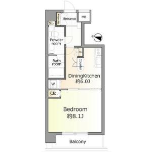 涩谷区恵比寿-1DK公寓大厦 楼层布局