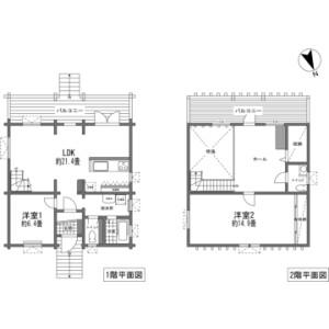 2LDK {building type} in Asahi - Abuta-gun Kutchan-cho Floorplan