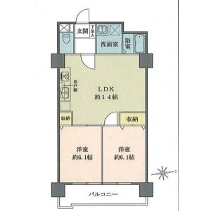2LDK {building type} in Shibaura(2-4-chome) - Minato-ku Floorplan