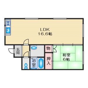 1LDK Mansion in Akenocho - Takatsuki-shi Floorplan