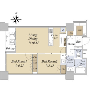2LDK {building type} in Shinonome - Koto-ku Floorplan