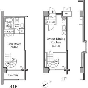 1LDK Mansion in Yoga - Setagaya-ku Floorplan