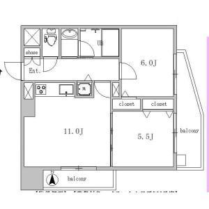 2LDK {building type} in Ohashi - Meguro-ku Floorplan
