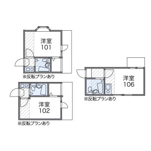1K 아파트 in Yakumo - Meguro-ku Floorplan