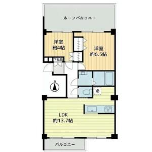 2LDK {building type} in Oyamacho - Shibuya-ku Floorplan