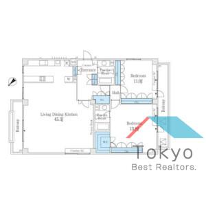 2LDK Mansion in Nakameguro - Meguro-ku Floorplan