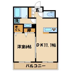 1LDK Mansion in Manganji - Hino-shi Floorplan