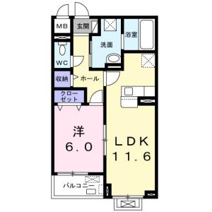1LDK Apartment in Kamihamuro - Takatsuki-shi Floorplan