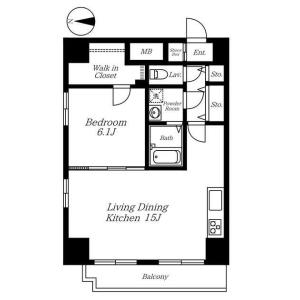 港區南麻布-1LDK公寓大廈 房間格局