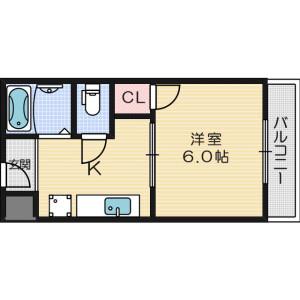 1K Apartment in Minamikasugaoka - Ibaraki-shi Floorplan