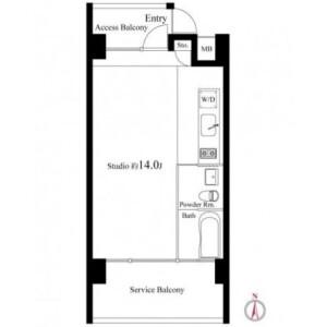 豐島區南池袋-1K公寓大廈 房間格局
