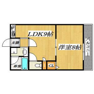 1LDK Mansion in Higashikonoikecho - Higashiosaka-shi Floorplan