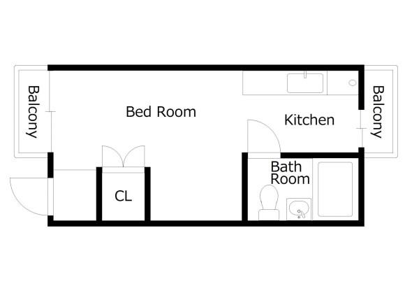 1R Apartment to Rent in Kyoto-shi Fushimi-ku Floorplan