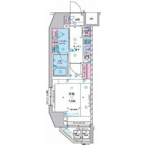 港區三田-1K公寓大廈 房間格局