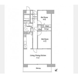 2LDK Mansion in Kachidoki - Chuo-ku Floorplan