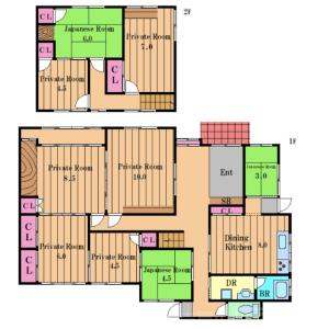 9DK House in Kishicho - Tondabayashi-shi Floorplan