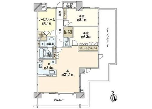 2LDK Apartment to Buy in Koto-ku Floorplan