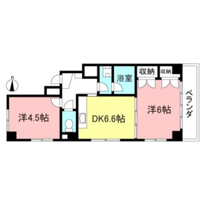 2DK Mansion in Hagoromocho - Tachikawa-shi Floorplan