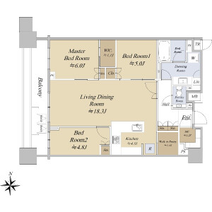 3LDK {building type} in Minamiazabu - Minato-ku Floorplan