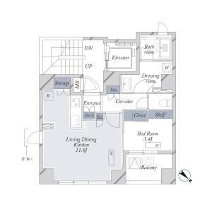1LDK Mansion in Nihombashihakozakicho - Chuo-ku Floorplan