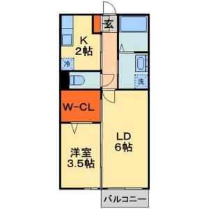 2K Apartment in Inaricho - Chiba-shi Chuo-ku Floorplan