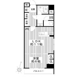 1LDK {building type} in Shinkawa - Chuo-ku Floorplan