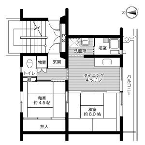 2DK Mansion in Nishiobuchi - Kakegawa-shi Floorplan