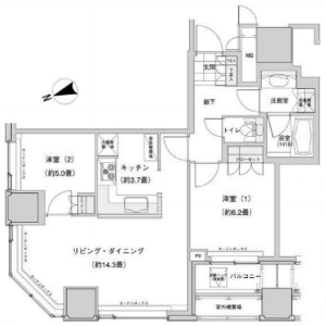 2LDK Mansion in Nishiikebukuro - Toshima-ku Floorplan