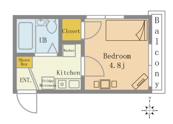 1K Serviced Apartment to Rent in Yokohama-shi Kohoku-ku Floorplan